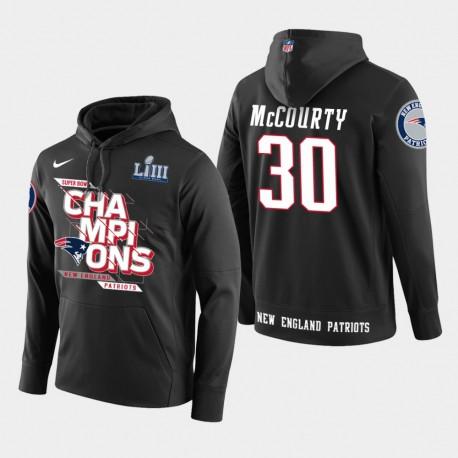 Männer New England Patriots und 30 Jason McCourty Super Bowl LIII Champion PulloverHoodie - Schwarz