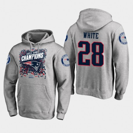 Männer New England Patriots und 28 James White Super Bowl LIII Champion Trophy PulloverHoodie - Grau
