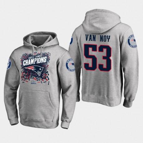 Männer New England Patriots und 53 Kyle Van Noy Super Bowl LIII Champion Trophy PulloverHoodie - Grau