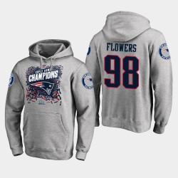 Männer New England Patriots und 98 Trey Blumen Super Bowl LIII Champion Trophy PulloverHoodie - Grau