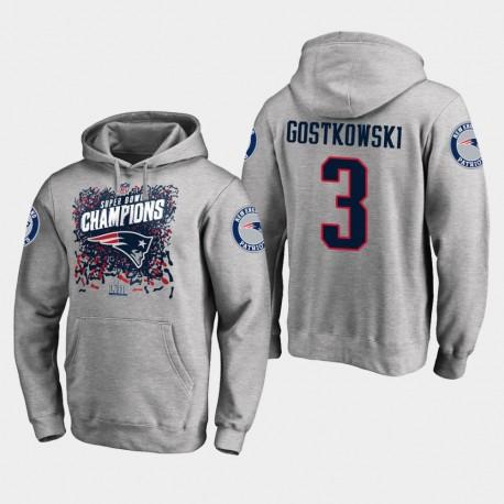 Männer New England Patriots & 3 Stephen Gostkowski Super Bowl LIII Champion Trophy PulloverHoodie - Grau
