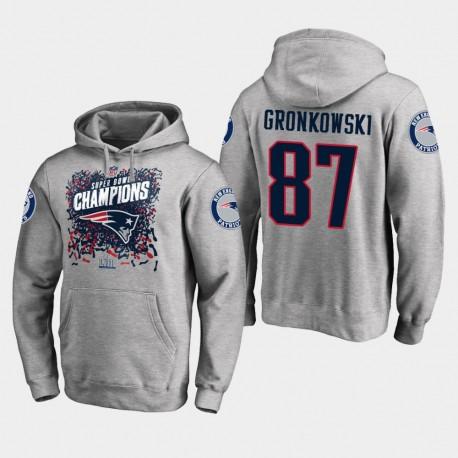 Männer New England Patriots und 87 Rob Gronkowski Super Bowl LIII Champion Trophy PulloverHoodie - Grau