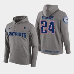 Männer New England Patriots und 24 Stephon Gilmore New Season Spieler PulloverHoodie - Grau