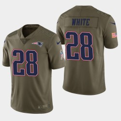Herren New England Patriots und 28 James White Salute to Service Limited Jersey - Olive