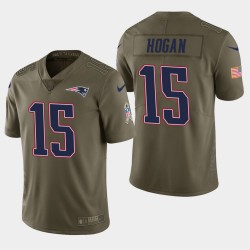 Männer New England Patriots und 15 Chris Hogan Salute to Service Limited Jersey - Olive