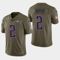 Männer New England Patriots, 2 Brian Hoyer Salute to Service Limited Jersey - Olive