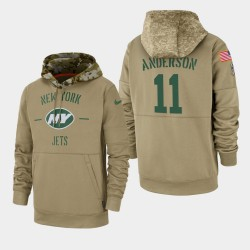 Männer New York Jets und 11 Robby Anderson 2019 Salute to Service-Sideline Therma Hoodie - Tan