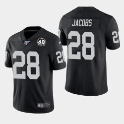 Männer Oakland Raiders & 28 Josh Jacobs 60th Anniversary Vapor Limited Jersey - Schwarz