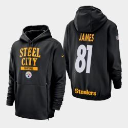Männer Pittsburgh Steelers und 81 Jesse James Sideline Lockup PulloverHoodie - Schwarz