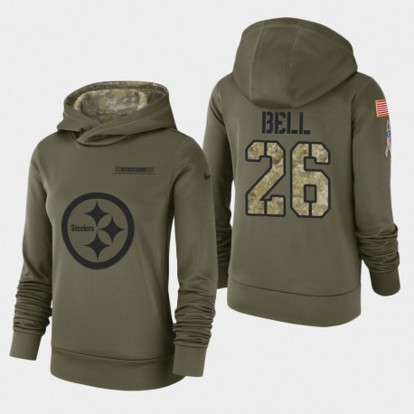 Frauen Pittsburgh Steelers und 26 Le'Veon Bell 2018 Salute To Service Performance PulloverHoodie - Olive