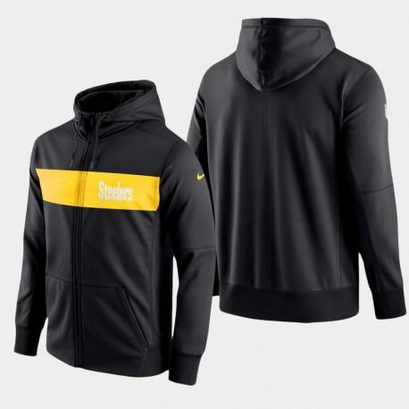 Männer Pittsburgh Steelers-Team Sideline Full-Zip Leistung Hoodie - Schwarz