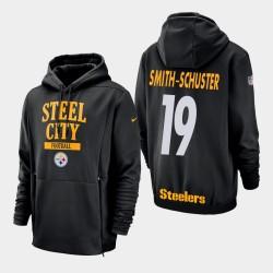 Männer Pittsburgh Steelers und 19 JuJu Smith-Schuster Sideline Lockup PulloverHoodie - Schwarz