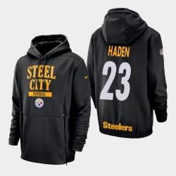 Männer Pittsburgh Steelers und 23 Joe Haden Sideline Lockup PulloverHoodie - Schwarz