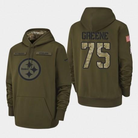 Männer Pittsburgh Steelers und 75 Joe Greene 2018 Salute To Service Performance PulloverHoodie - Olive