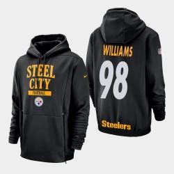 Männer Pittsburgh Steelers und 98 Vince Williams Sideline Lockup PulloverHoodie - Schwarz