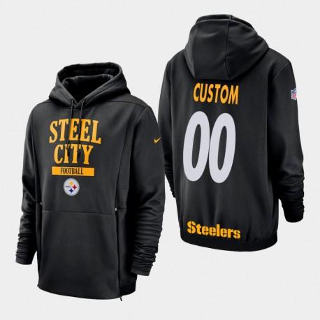 Männer Pittsburgh Steelers & 00 Individuelle Sideline Lockup PulloverHoodie - Schwarz