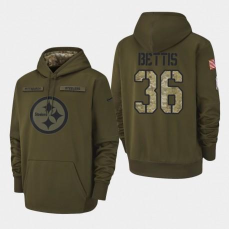 Männer Pittsburgh Steelers und 36 Jerome Bettis 2018 Salute To Service Performance PulloverHoodie - Olive