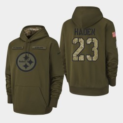 Männer Pittsburgh Steelers und 23 Joe Haden 2018 Salute To Service Performance PulloverHoodie - Olive