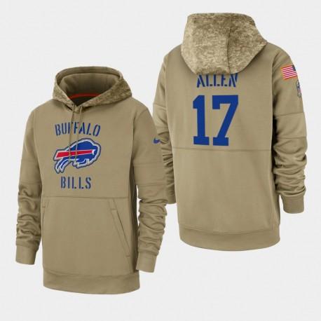 Männer Josh Allen Buffalo Bills 2019 Salute to Service-Sideline Therma PulloverHoodie - Tan