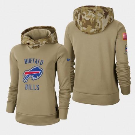 Frauen Buffalo Bills Khaki 2019 Salute to-Service Therma PulloverHoodie