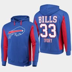 Fanatics gebrandmarkte Männer Buffalo Bills # 33 Chris Ivory-Team Iconic PulloverHoodie - König