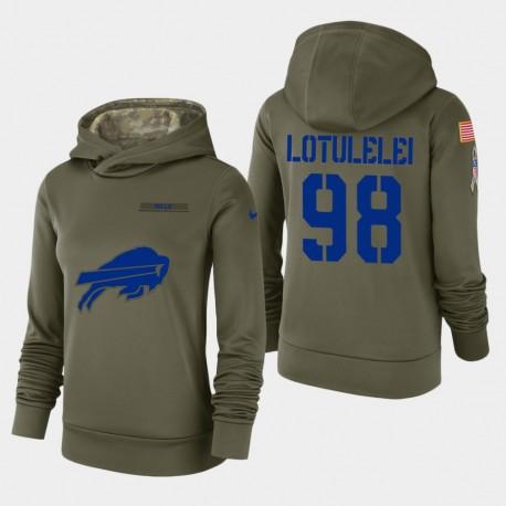 Frauen Buffalo Bills & 98 star lotulelei 2018 Salute To Service Performance PulloverHoodie - Olive