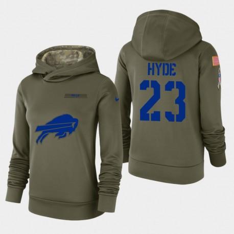 Frauen Buffalo Bills & 23 Micah Hyde 2018 Salute To Service Performance PulloverHoodie - Olive