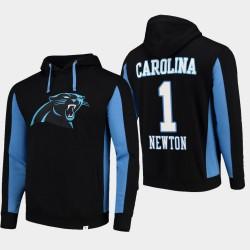 Fanatics gebrandmarkte Männer Carolina Panthers # 1 Cam Newton-Team Iconic PulloverHoodie - Schwarz