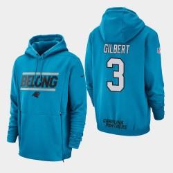 Männer Carolina Panthers # 3 Garrett Gilbert Sideline Lockup PulloverHoodie - Blau