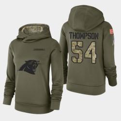 Frauen Carolina Panthers und 54 Shaq Thompson 2018 Salute To Service Performance PulloverHoodie - Olive