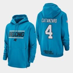 Männer Carolina Panthers und 4 Chandler Catanzaro Sideline Lockup PulloverHoodie - Blau
