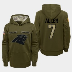 Jugend Carolina Panther und 7 Kyle All 2018 Salute To Service Performance PulloverHoodie - Olive