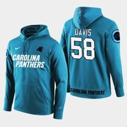 Männer Carolina Panthers # 58 Thomas Davis Sr. New Season Spieler PulloverHoodie - Blau