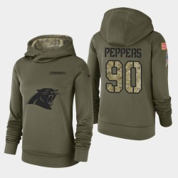 Frauen Carolina Panthers und 90 Julius Peppers 2018 Salute To Service Performance PulloverHoodie - Olive
