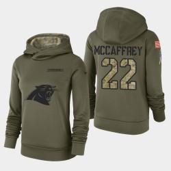 Frauen Carolina Panthers und 22 Christian McCaffrey 2018 Salute To Service Performance PulloverHoodie - Olive
